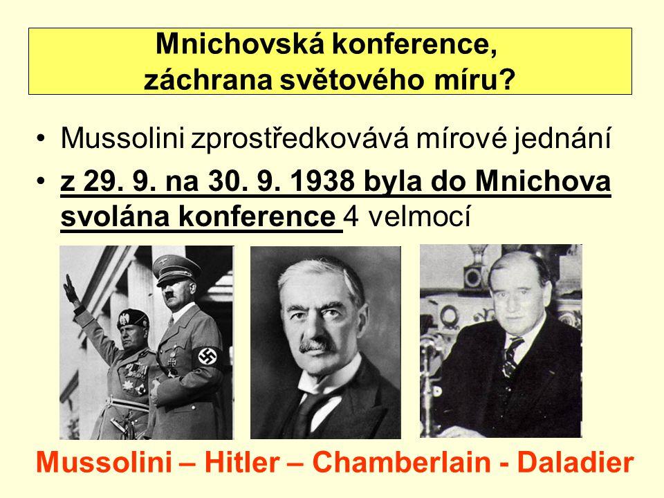 Mnichovská konference, záchrana světového míru