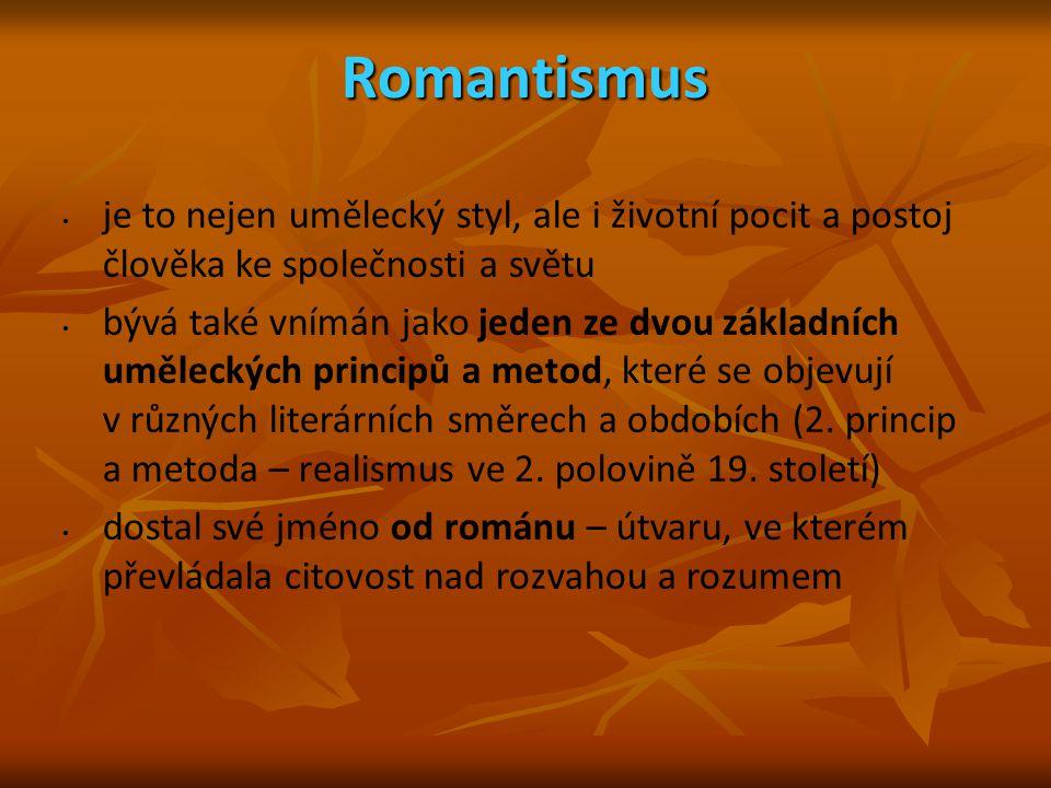 Romantismus je to nejen umělecký styl, ale i životní pocit a postoj člověka ke společnosti a světu.