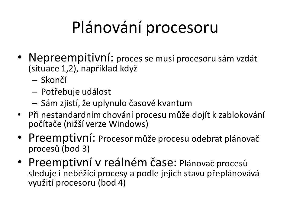 Plánování procesoru Nepreempitivní: proces se musí procesoru sám vzdát (situace 1,2), například když.