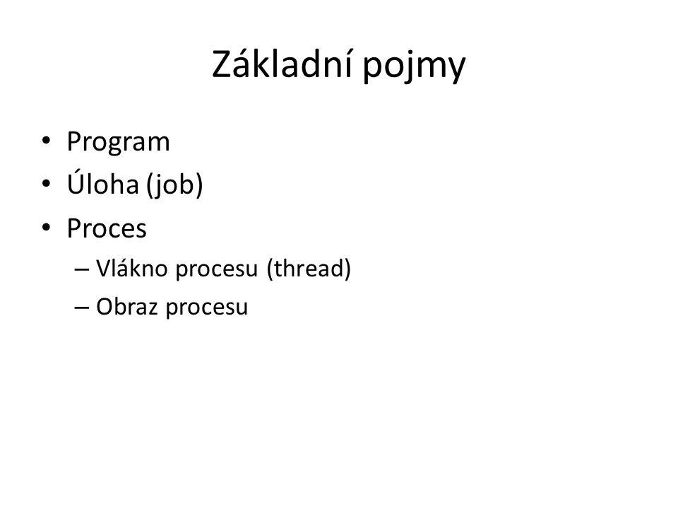 Základní pojmy Program Úloha (job) Proces Vlákno procesu (thread)
