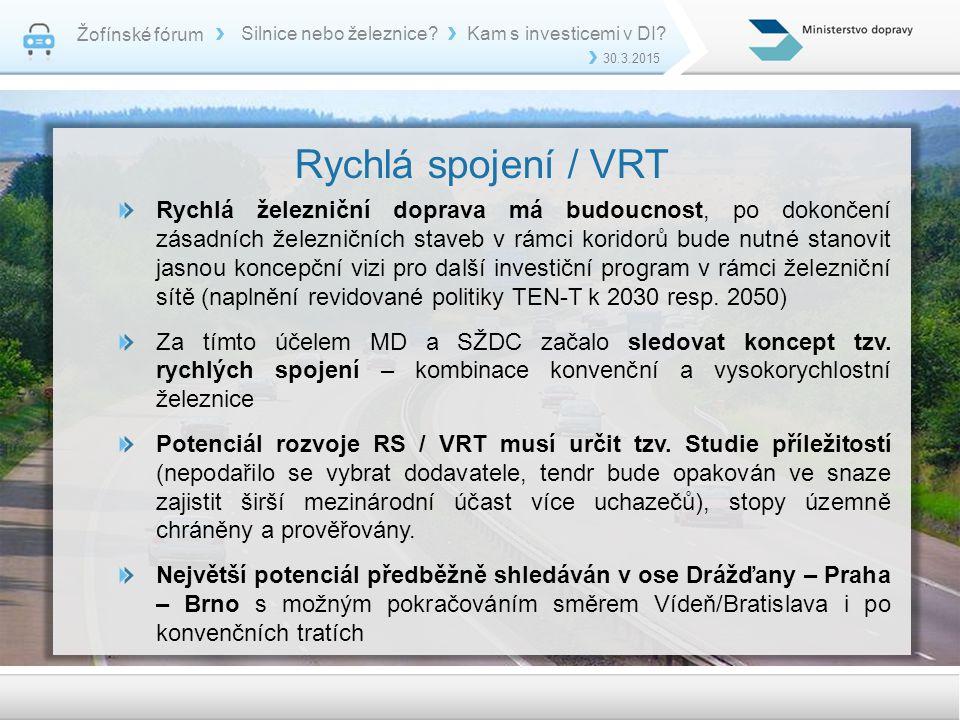 Žofínské fórum Silnice nebo železnice Kam s investicemi v DI 30.3.2015. Rychlá spojení / VRT.