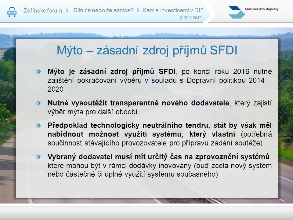 Mýto – zásadní zdroj příjmů SFDI