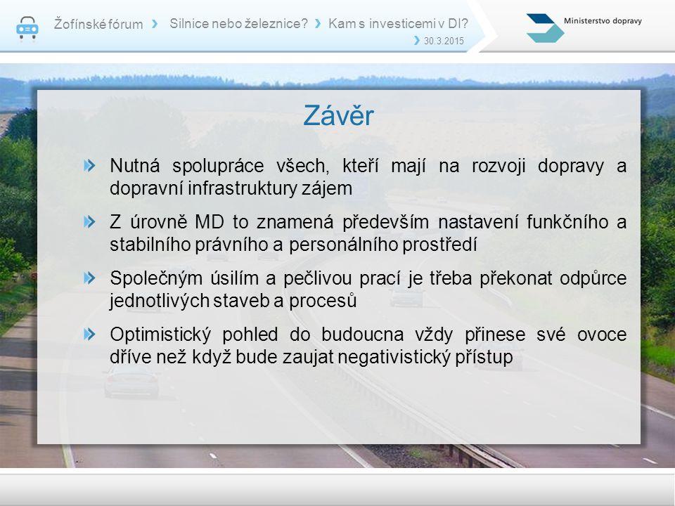 Žofínské fórum Silnice nebo železnice Kam s investicemi v DI 30.3.2015. Závěr.