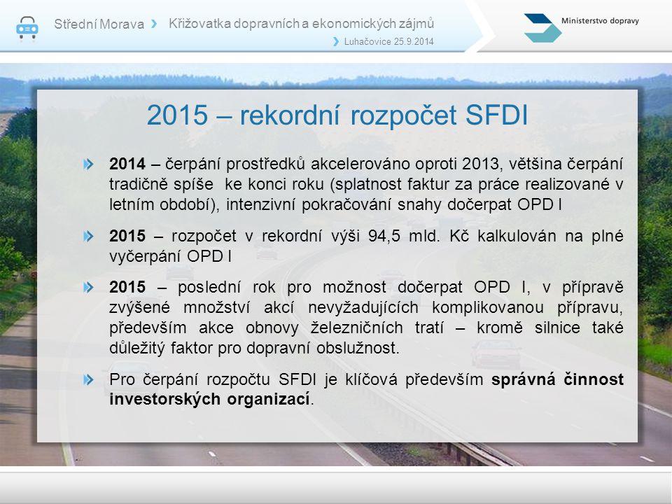 2015 – rekordní rozpočet SFDI