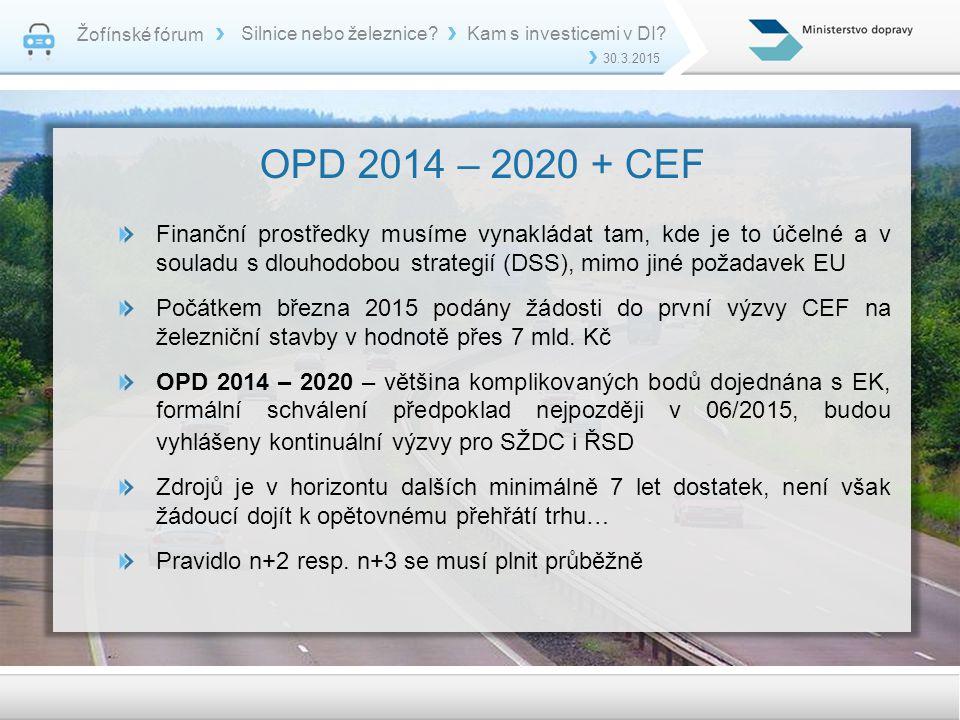 Žofínské fórum Silnice nebo železnice Kam s investicemi v DI 30.3.2015. OPD 2014 – 2020 + CEF.