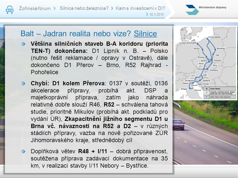 Balt – Jadran realita nebo vize Silnice