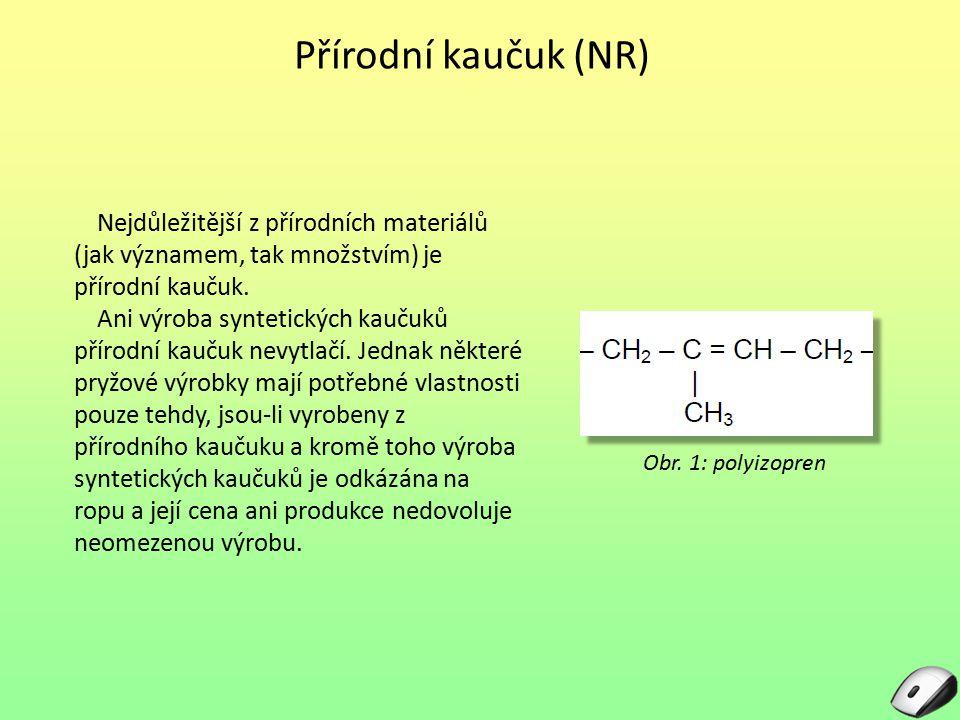 Přírodní kaučuk (NR) Nejdůležitější z přírodních materiálů (jak významem, tak množstvím) je přírodní kaučuk.