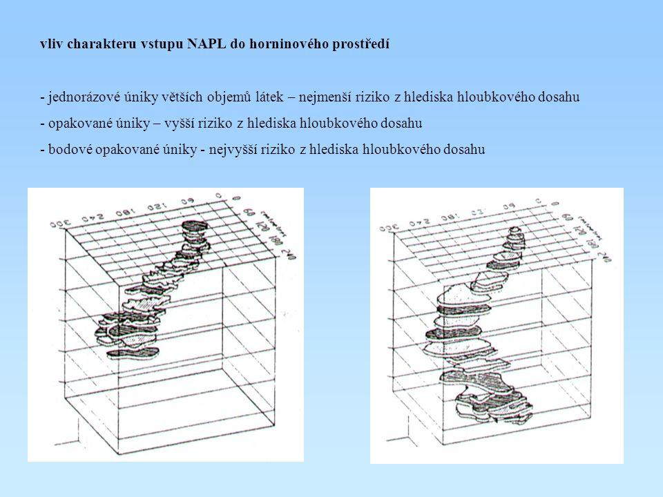 vliv charakteru vstupu NAPL do horninového prostředí