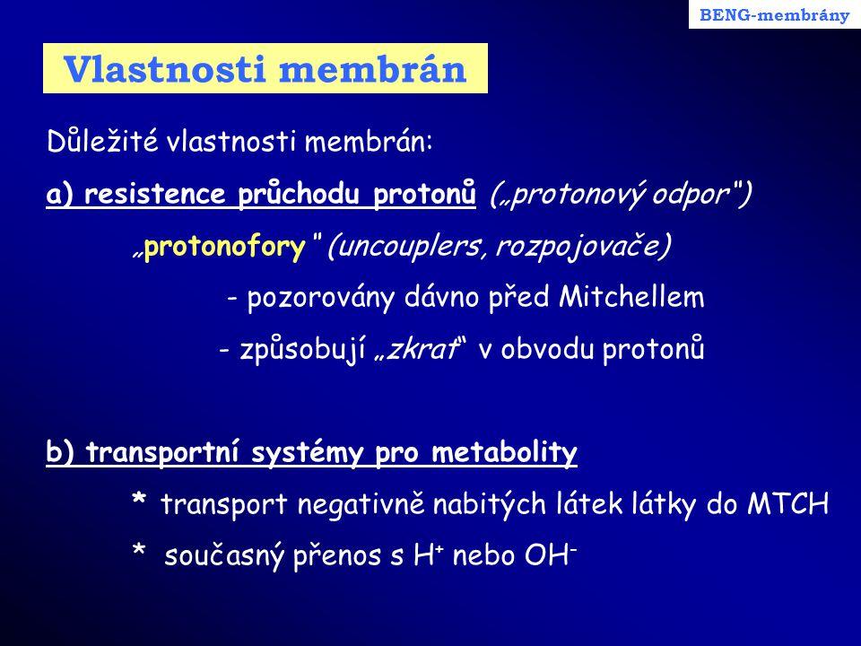 Vlastnosti membrán Důležité vlastnosti membrán: