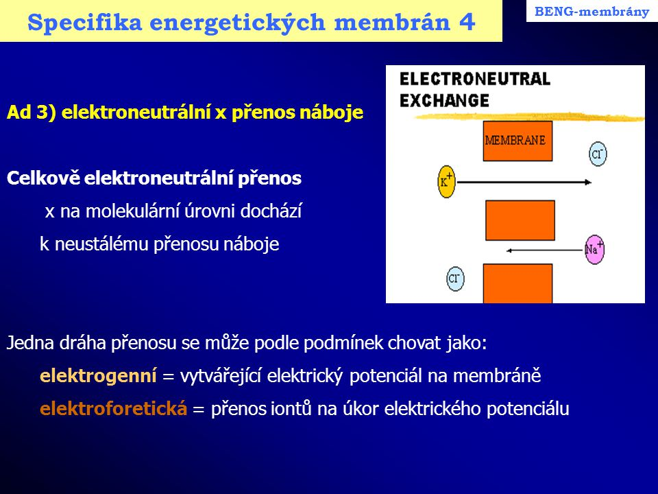 Specifika energetických membrán 4