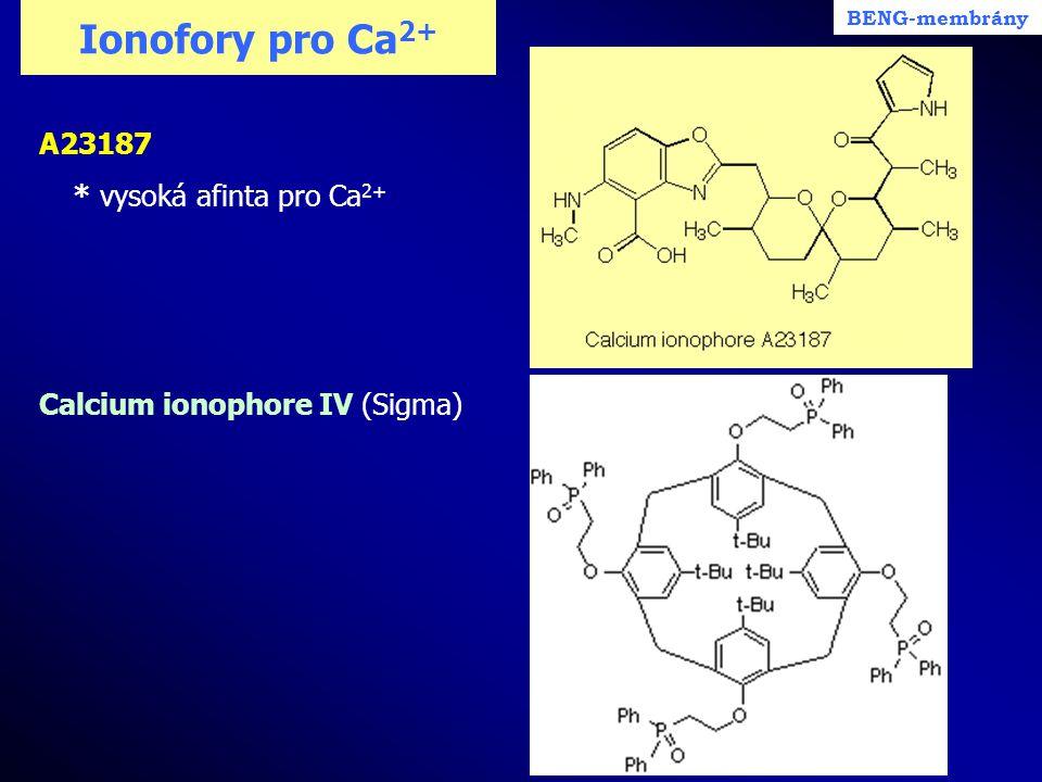 Ionofory pro Ca2+ A23187 * vysoká afinta pro Ca2+