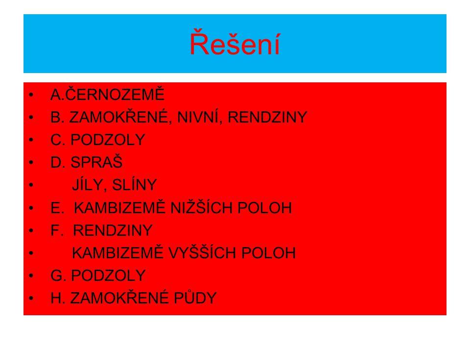 Řešení A.ČERNOZEMĚ B. ZAMOKŘENÉ, NIVNÍ, RENDZINY C. PODZOLY D. SPRAŠ
