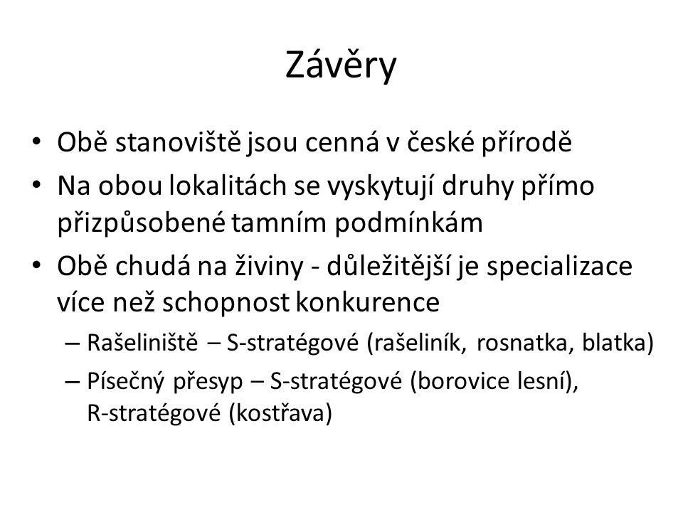 Závěry Obě stanoviště jsou cenná v české přírodě
