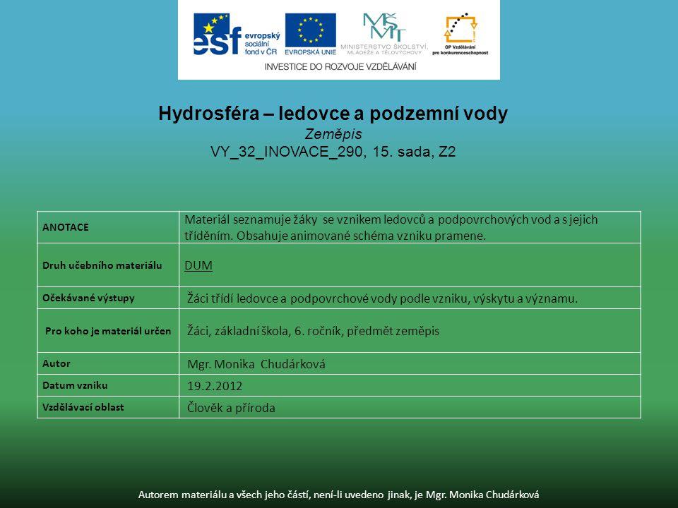 Hydrosféra – ledovce a podzemní vody
