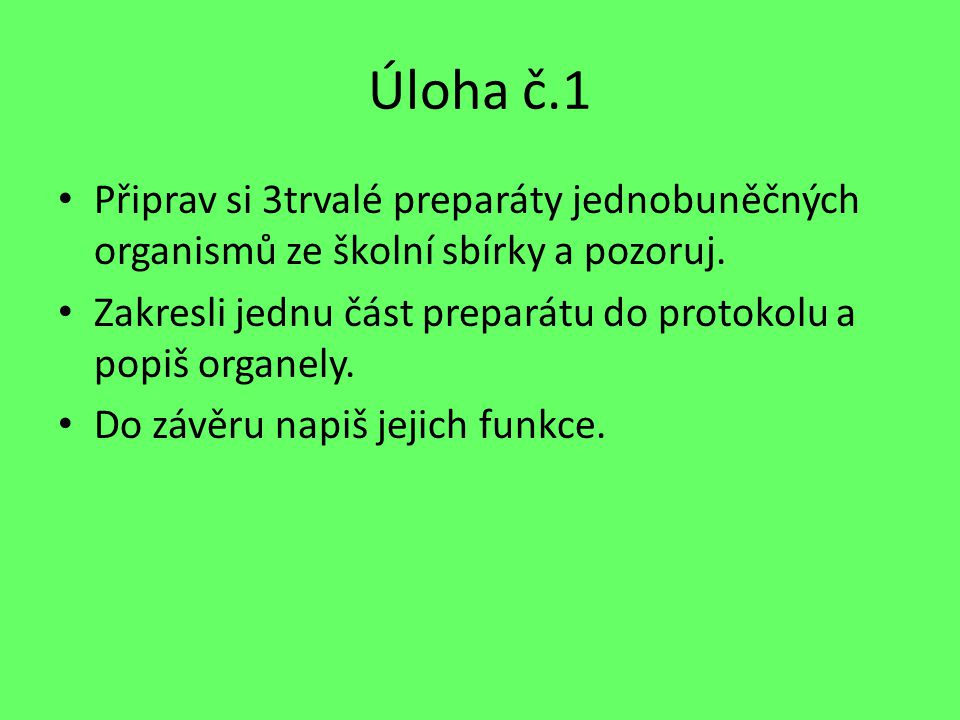 Úloha č.1 Připrav si 3trvalé preparáty jednobuněčných organismů ze školní sbírky a pozoruj.