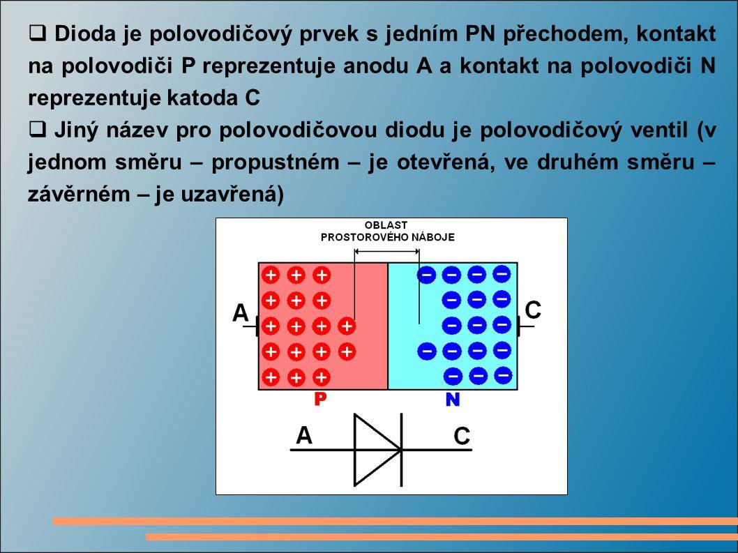 Dioda je polovodičový prvek s jedním PN přechodem, kontakt na polovodiči P reprezentuje anodu A a kontakt na polovodiči N reprezentuje katoda C