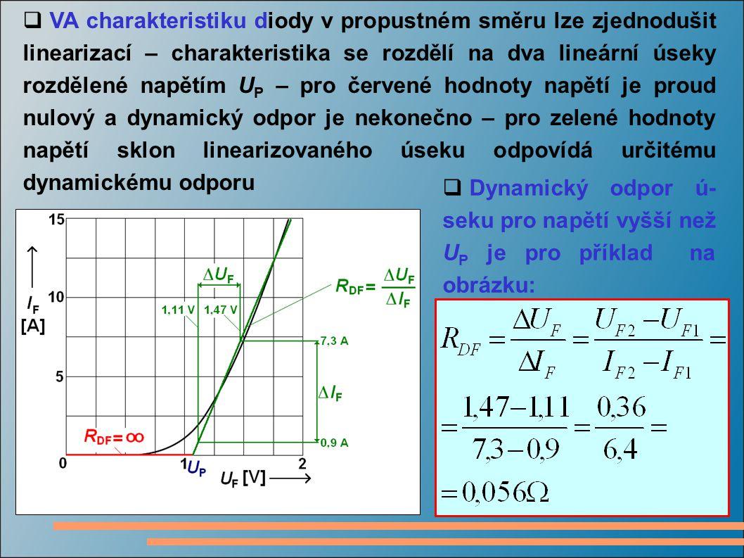 VA charakteristiku diody v propustném směru lze zjednodušit linearizací – charakteristika se rozdělí na dva lineární úseky rozdělené napětím UP – pro červené hodnoty napětí je proud nulový a dynamický odpor je nekonečno – pro zelené hodnoty napětí sklon linearizovaného úseku odpovídá určitému dynamickému odporu