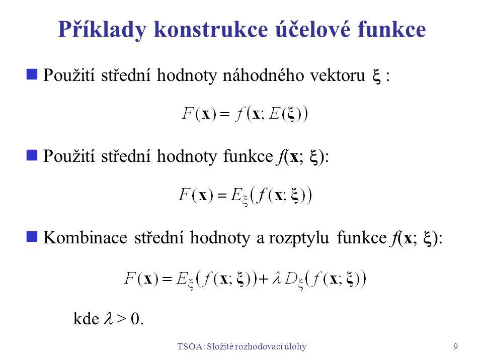 Příklady konstrukce účelové funkce