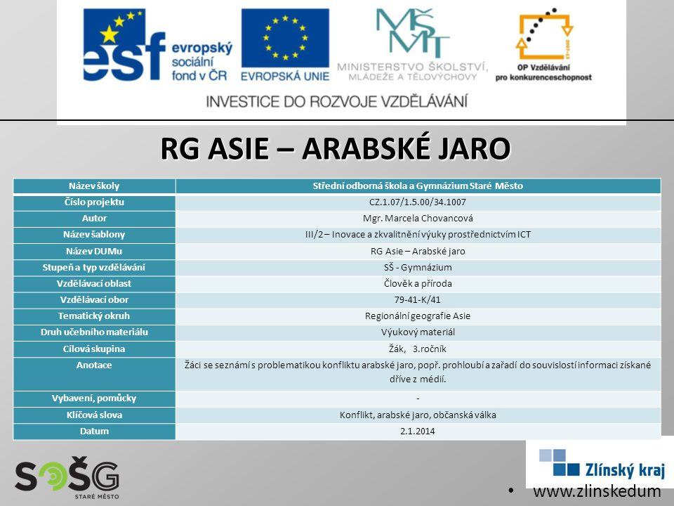 RG ASIE – ARABSKÉ JARO www.zlinskedumy.cz Název školy