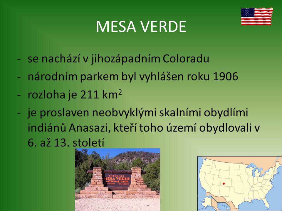 MESA VERDE se nachází v jihozápadním Coloradu