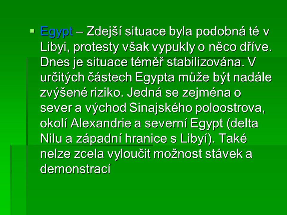 Egypt – Zdejší situace byla podobná té v Libyi, protesty však vypukly o něco dříve.