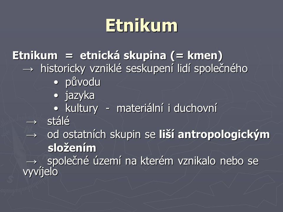 Etnikum Etnikum = etnická skupina (= kmen)