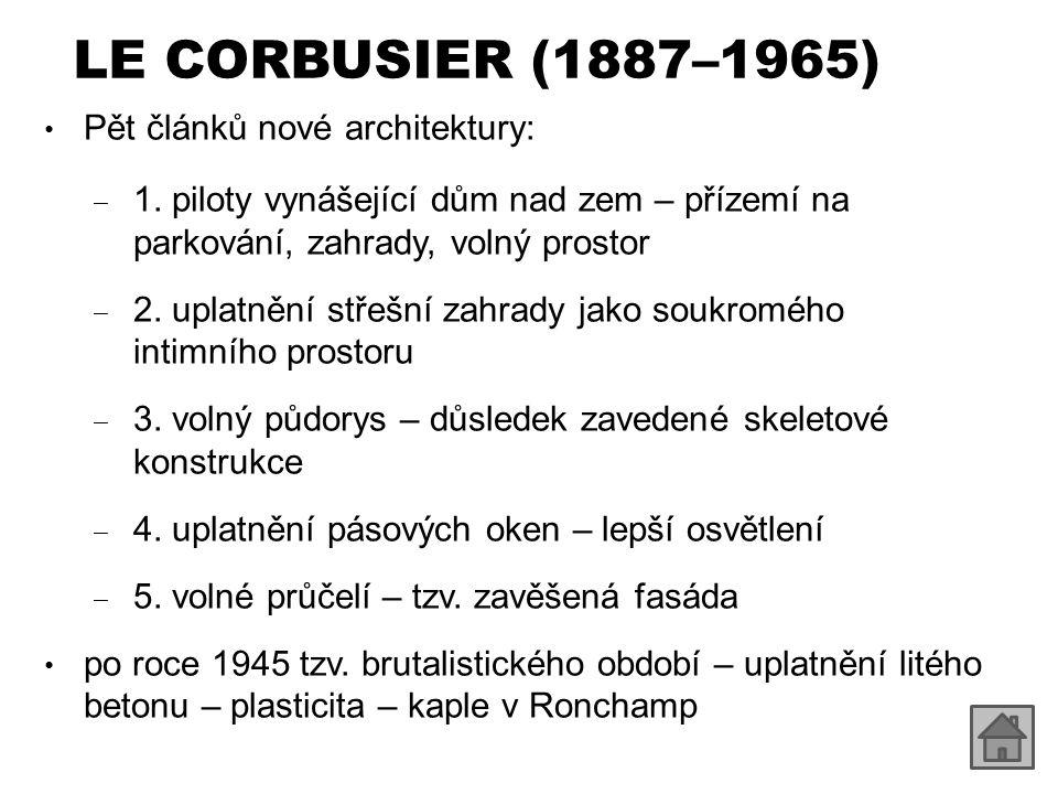 LE CORBUSIER (1887–1965) Pět článků nové architektury: