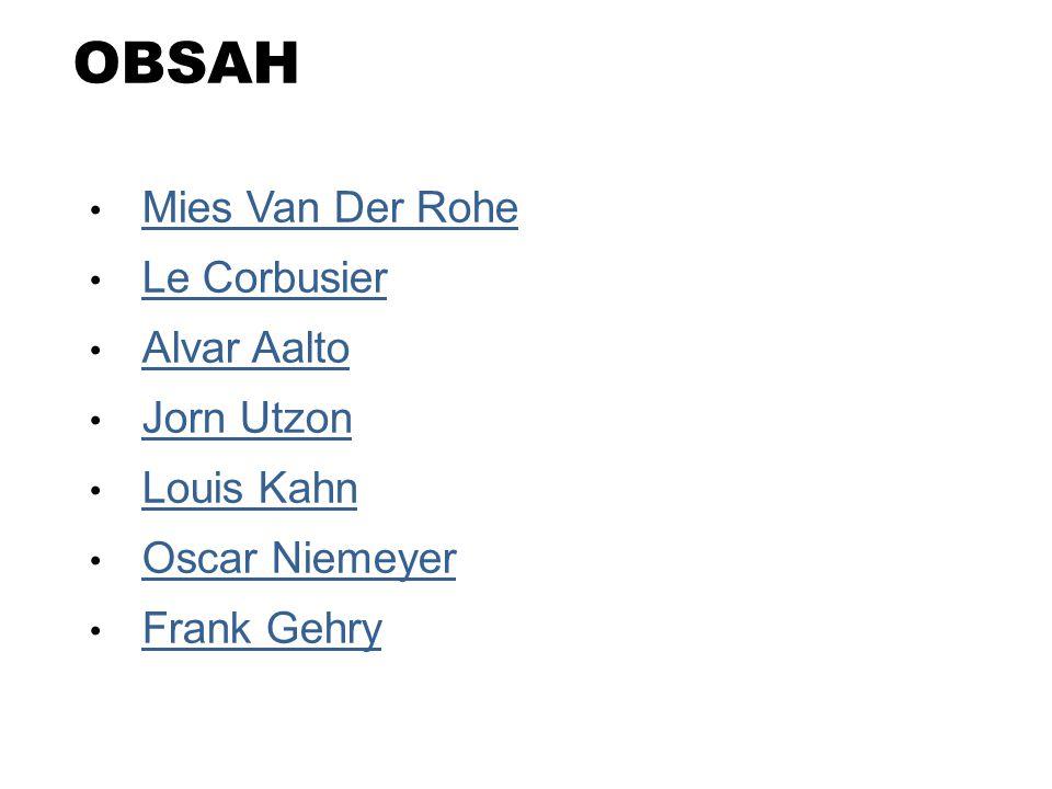 OBSAH Mies Van Der Rohe Le Corbusier Alvar Aalto Jorn Utzon Louis Kahn