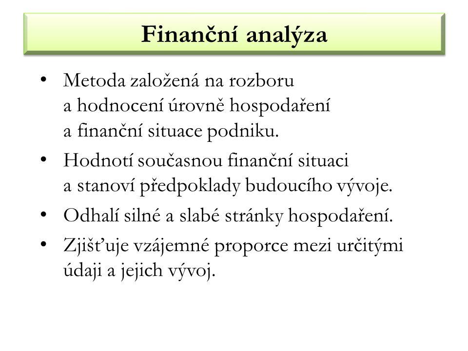 Finanční analýza Metoda založená na rozboru a hodnocení úrovně hospodaření a finanční situace podniku.