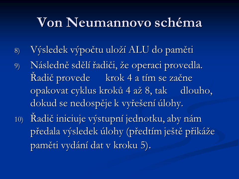 Von Neumannovo schéma Výsledek výpočtu uloží ALU do paměti