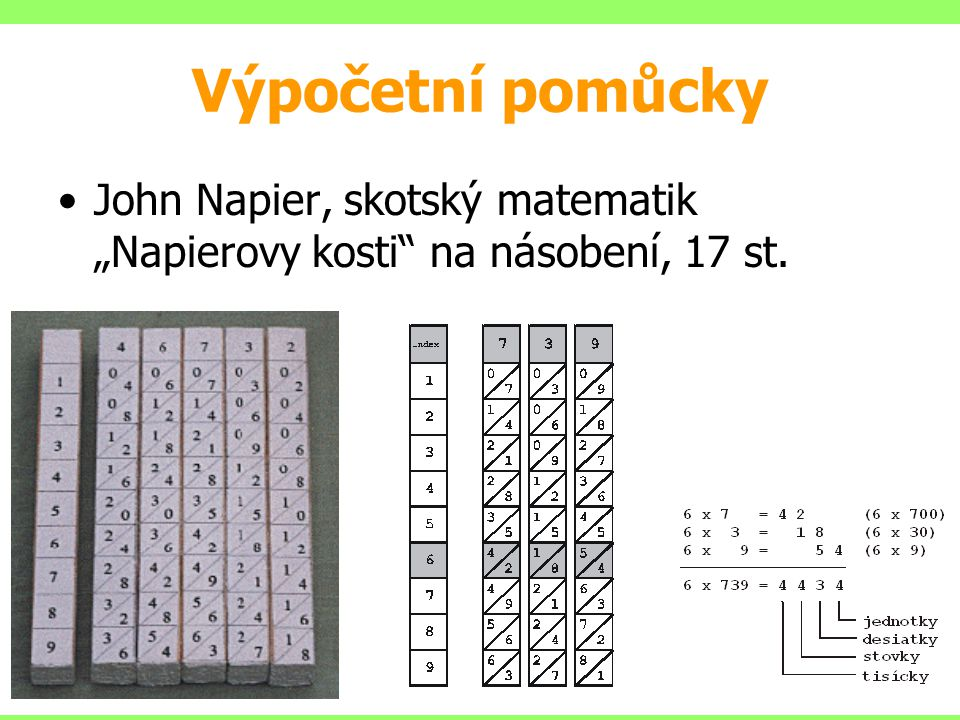 """Výpočetní pomůcky John Napier, skotský matematik """"Napierovy kosti na násobení, 17 st."""