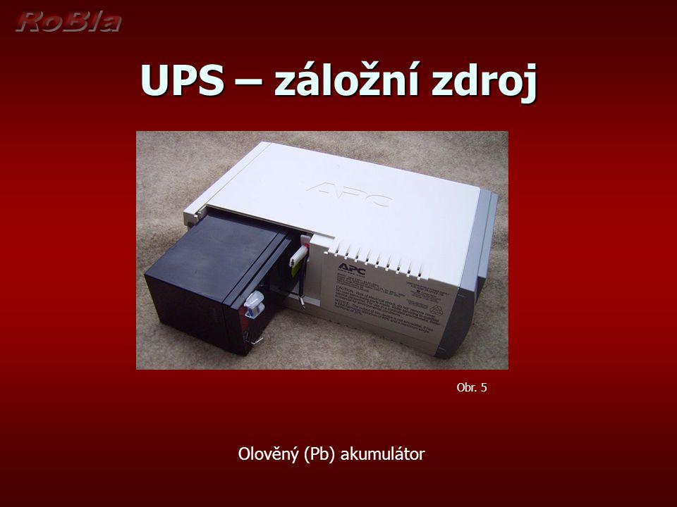 UPS – záložní zdroj Obr. 5 Olověný (Pb) akumulátor