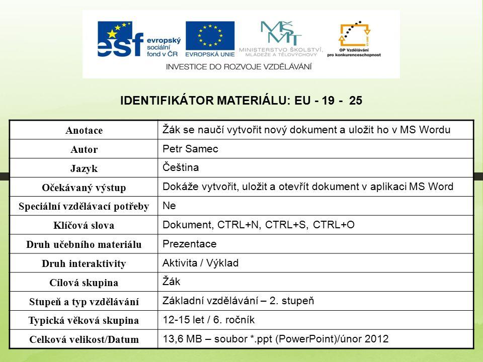 Identifikátor materiálu: EU - 19 - 25