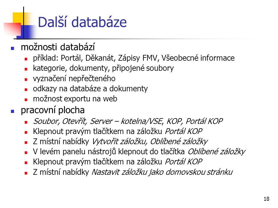 Další databáze možnosti databází pracovní plocha