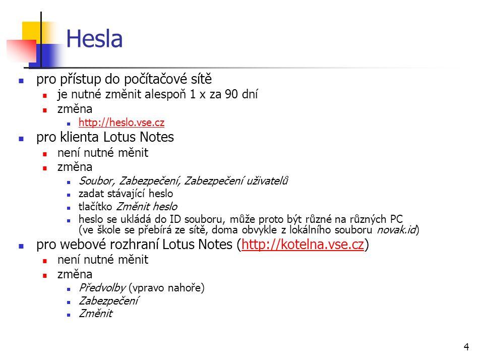 Hesla pro přístup do počítačové sítě pro klienta Lotus Notes