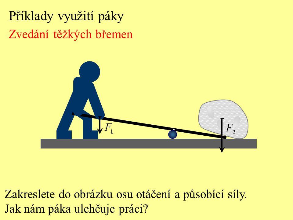 Příklady využití páky Zvedání těžkých břemen