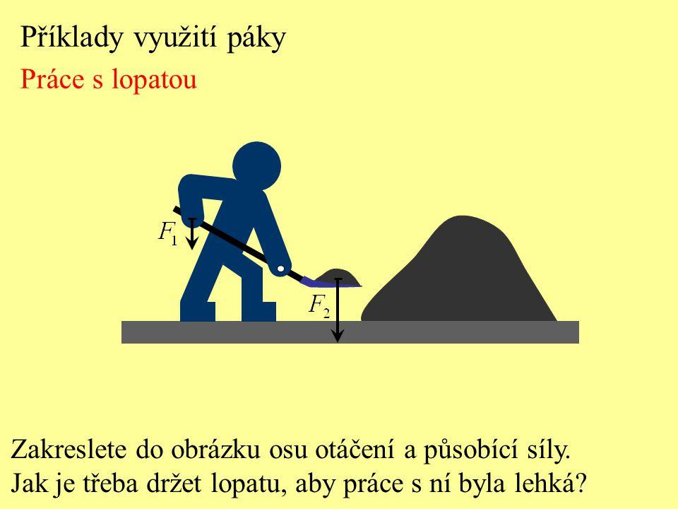 Příklady využití páky Práce s lopatou