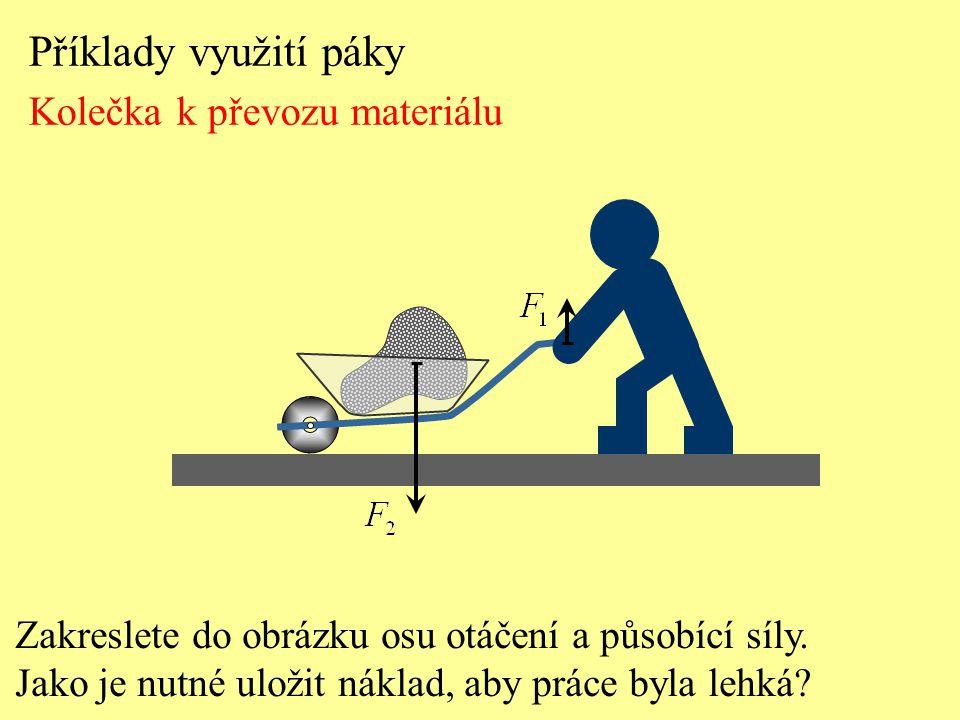 Příklady využití páky Kolečka k převozu materiálu