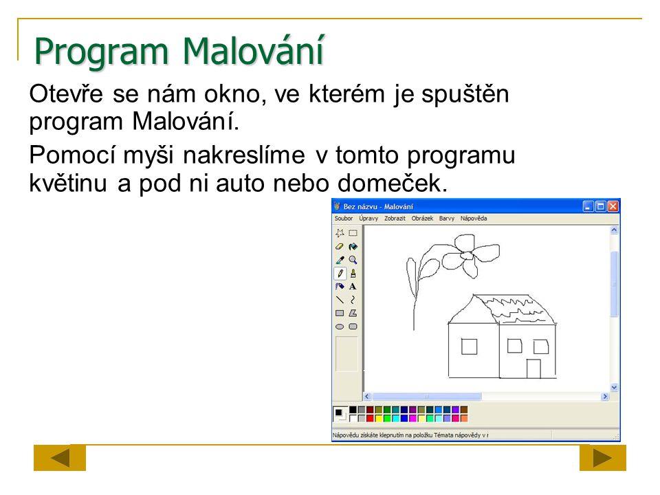 Program Malování Otevře se nám okno, ve kterém je spuštěn program Malování.
