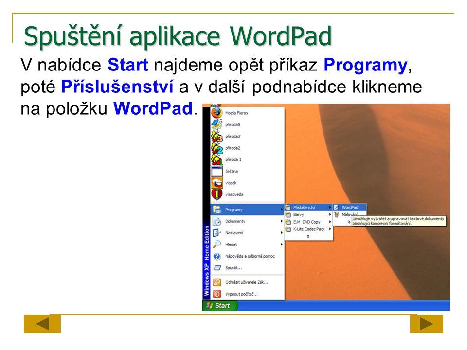 Spuštění aplikace WordPad