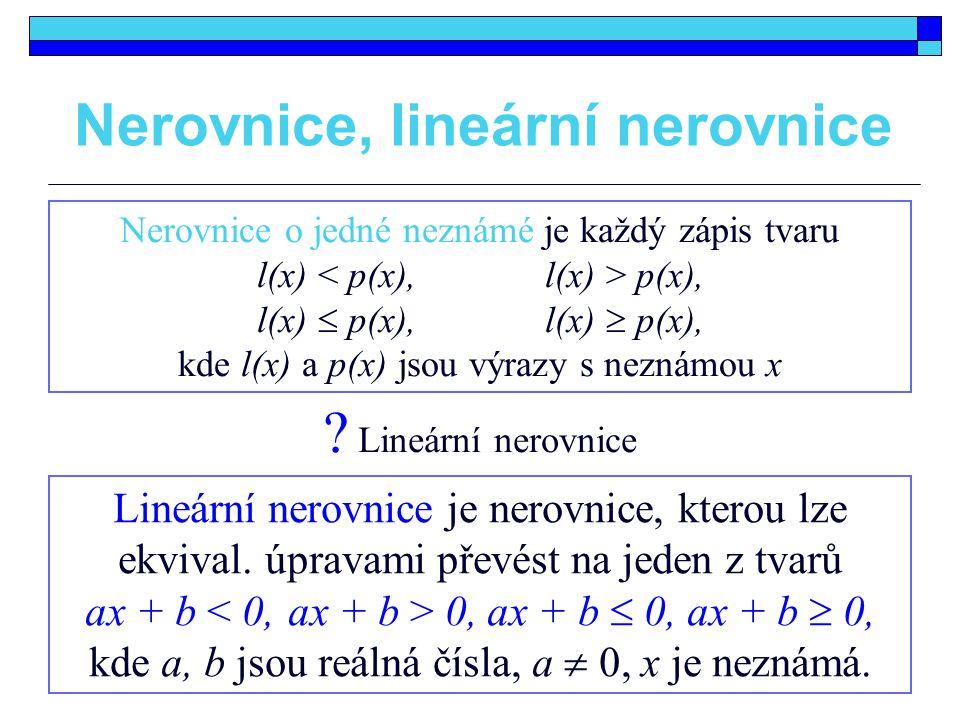 Nerovnice, lineární nerovnice