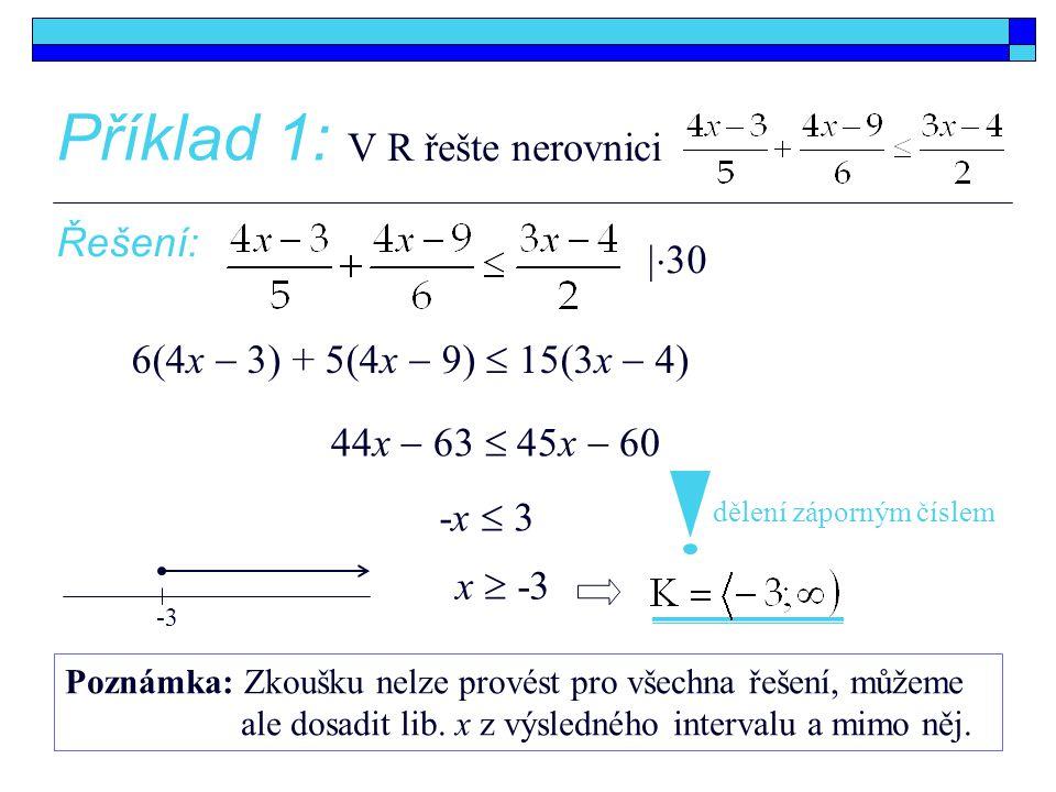 Příklad 1: V R řešte nerovnici Řešení: 30