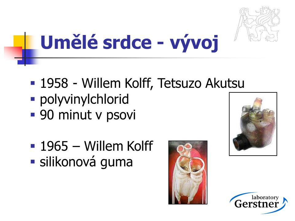 Umělé srdce - vývoj 1958 - Willem Kolff, Tetsuzo Akutsu