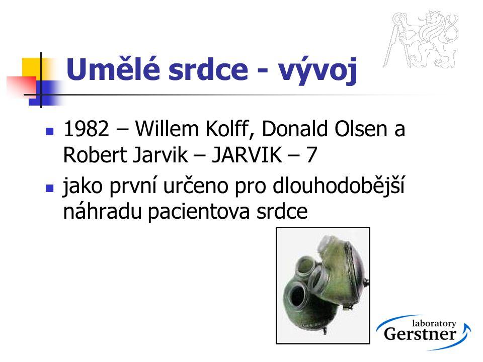 Umělé srdce - vývoj 1982 – Willem Kolff, Donald Olsen a Robert Jarvik – JARVIK – 7.