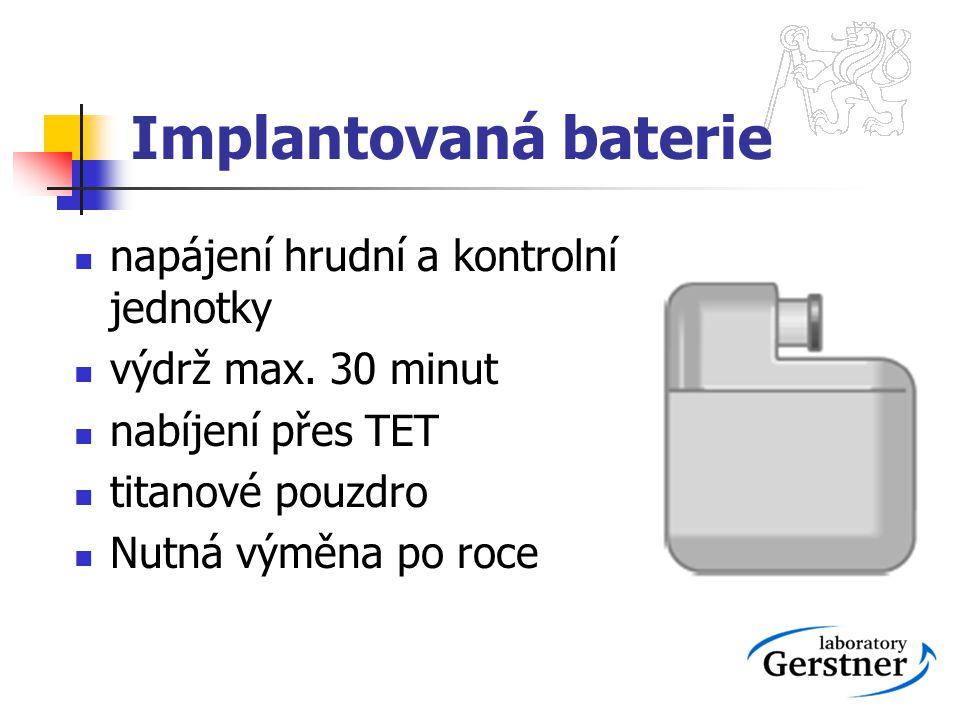 Implantovaná baterie napájení hrudní a kontrolní jednotky