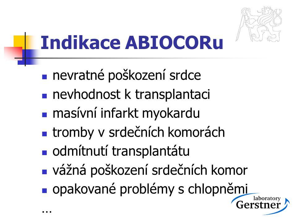 Indikace ABIOCORu nevratné poškození srdce nevhodnost k transplantaci
