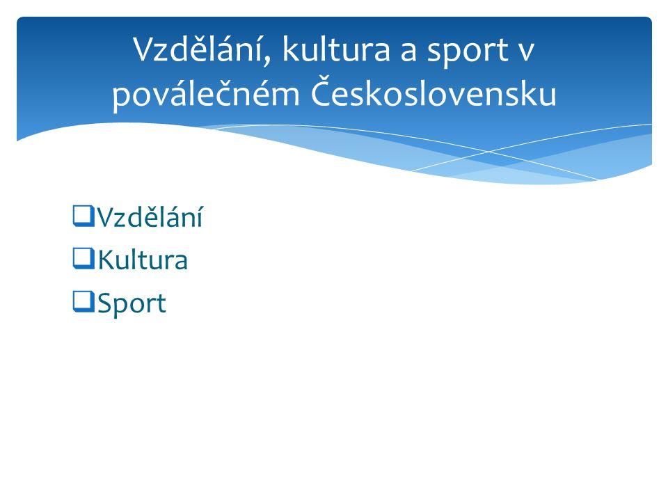 Vzdělání, kultura a sport v poválečném Československu