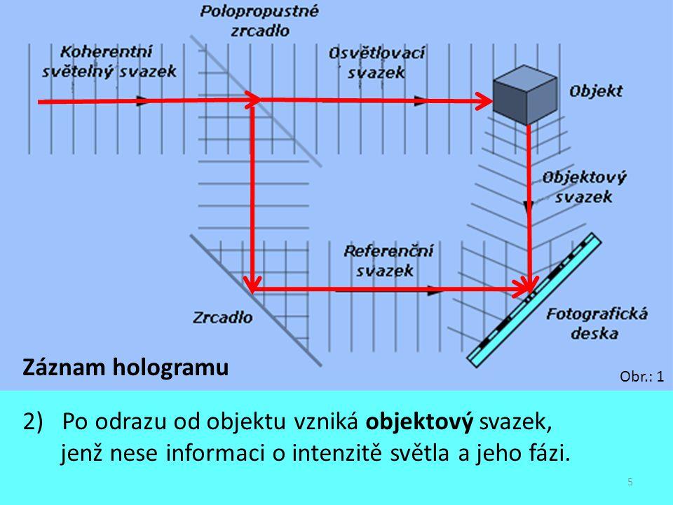Záznam hologramu 2) Po odrazu od objektu vzniká objektový svazek, jenž nese informaci o intenzitě světla a jeho fázi.