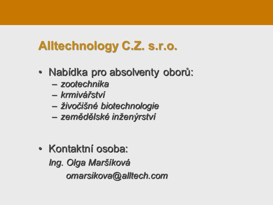 Alltechnology C.Z. s.r.o. Nabídka pro absolventy oborů: