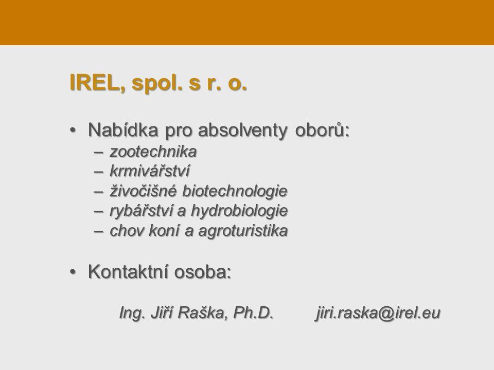 IREL, spol. s r. o. Nabídka pro absolventy oborů: Kontaktní osoba: